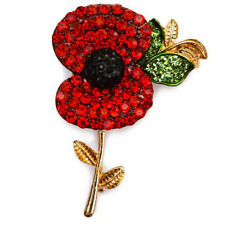 Brooch Pin Remembrance day Souvenir Uk Large Red Poppy Rhinestone Metal Alloy