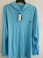 Polo Ralph Lauren Mens 3XB Blue Long Sleeve Hoodie Casual Shirt