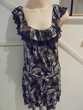 LADIES FORELLE NWOT SIZE 8 BROWN BLACK GREY LAYERED SKIRT FRILL FEATURE DRESS
