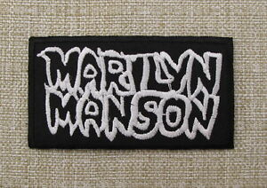 MARILYN MANSON White On Black Embroidered Iron On Sew On Patch