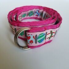 Angela Moore Pink Ribbon Belt Multi Color Beaded Print Silver Buckle Size Small