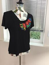 Ukrainian Rsyon Short Sleeves Shirt Embroidered With Poppies Size L