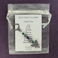 BUTTERFLY TOTEM CHARM Amulet Talisman Symbol Blue Green Silver Insect Psyche