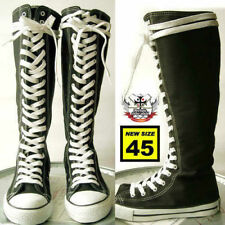 PUNK LACE UP HI TOP KNEE HIGH CANVAS SNEAKER BLACK BOOT choose from 35 to 43