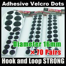 16mm×70 (Black) 70 Hook 70 Loop Strong Sticky Back Self Adhesive Dots Fastener