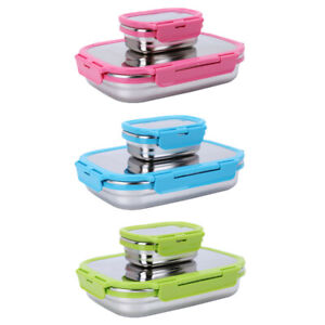 2PCS/Set Childrens Kids Stainless Steel Lunch Box Sandwich Food Container Boxes