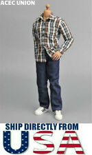 1/6 Scale Dark Green Red Plaid Long Sleeves Shirt Jeans Set U.S.A. SELLER