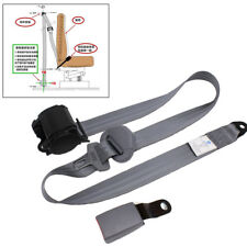 Gray 3Point Retractable Car Safety Seat Belts Lap Diagonal w/Curved Rigid Buckle