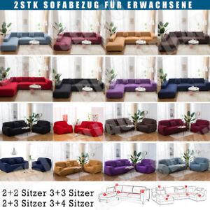 2 Stücke Sofabezug stretch elastische Sofahusse Abdeckung Für L Form Ecksofa DE