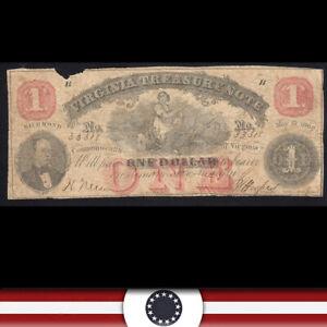 1862 $1 VIRGINIA TREASURY NOTE  *CIVIL WAR ERA OBSOLETE BILL* 3318-HU-P