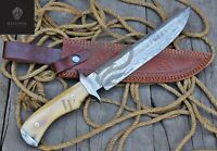 Hand Forged Damascus Trapper Combat KnifeEdcDeer Hunting