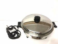 "Saladmaster 11"" Electric Skillet Pan Oil Core Vapo Lid #7815E 1150 Watts + Cord"