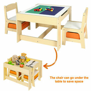 Kids Table and Chair Set  Activity Lego Block Play Desk for Toddler with Storage