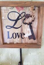LOVE   hook hanger WITH KEY  WOOD NEW