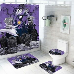 Nightmare Before Christmas Shower Curtain Jack Bath Rug Toilet Lid Cover 4PCS