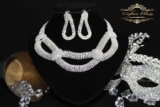 2 Tlg Brautschmuck Collier XXL Ohrhänger Strass Weiss Silber Hochzeit Vintage