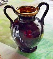 Ancien Vase deux Anses Vallauris Flamme et dorure Vintage N°620 ( 14 cm ) 1970