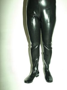 """BLACK-RED LATEX RUBBER WADERS BOOTS-PANTS  SIZE 4-12- HEELS 0""""- POLAND FS1191"""