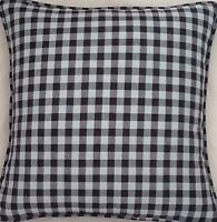 A 16 Inch cushion cover In Laura Ashley gingham duck egg / Charcoal fabric