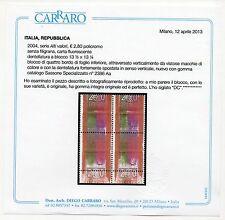 2004 REPUBBLICA ALTO VALORE € 2,80 VARIETA' QUARTINA CERT CARRARO C/3467