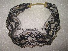 Black Gold Vintage Flower Lace Hair Head Band Choochie Choo Hippy Bohemian Boho