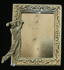 Golfer Male Photo Frame Pin Golf Silver Plate & Oxidized Matte Silver