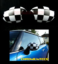 MK1 MINI Cooper/S/ONE R50 R52 R53 Chequered Flag Wing MIRROR Cap Covers for RHD