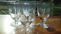 Vintage Javit Crystal Juice glasses wheel cut etched footed tumblers 4 6 oz