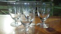 Vintage Javit Crystal Juice glasses wheel cut etched footed tumblers 4 6 oz
