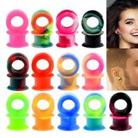 1 Pair Thick Silicone Ear Gauges Tunnels Plugs Expander Piercing Jewelry 2g-1""