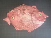 "Vintage Bordalo Pinheiro Ying Yang Fish Covered Dish 15"" X 10"" Red Snapper Nice!"