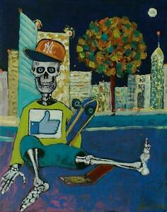 """Day of The Dead """" Skater """" Original Acrylic Painting Folk Only Death Mexican Art"""
