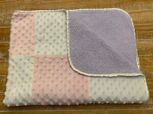 Just Born Pink & White Baby Blanket Minky Dot Patchwork Soft Plush