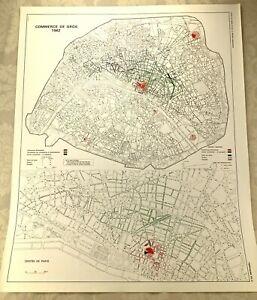 1967 Vintage Map of Paris France Wholesale Trade Business Commerce Street Plan