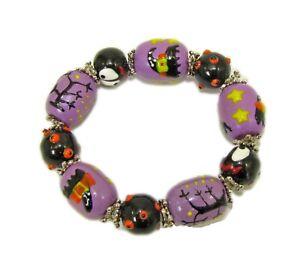 Spooky Halloween Themed Glass Beaded Stretch Bracelet -NEW