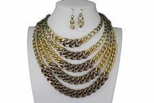 New Women Gold Bronze Metal Chunky Thick Chains Fashion Necklace Earrings Set