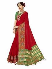 Women Kanjivaram Silk Cotton Saree,(maroon)