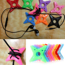 10Pcs Cute Colorful Soft Silicone Dart Star Earphone Cable Winders Wire Holders