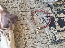 Braided Brown Leather 14k Yellow Gold Toggle Heart Charm Bracelet NWOT!