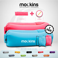 Mockins Inflatable 2 Pack Pink & Blue Blow Up Lounger Beach Chair & Travel Bag