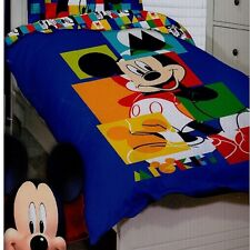Disney Mickey Mouse Jigsaw Double Full Bed Quilt Duvet Cover Set - REVERSE PRINT