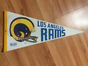 VINTAGE PENNANT FLAG LOS ANGELES RAMS FOOTBALL 1960s ORIGINAL