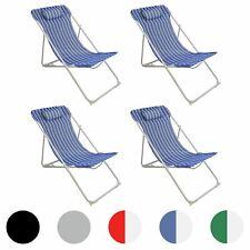 Metal Garden Deckchair Folding Adjustable Reclining, Blue / White Stripe - x4