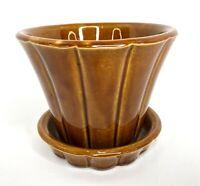Vintage McCoy Pottery USA Brown Flower Pot Planter Attached Saucer Drain Plate