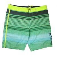 Hurley Men's Sz 38 ? Phantom Board Shorts Green Stripe Swim Trunks Surf Stretch