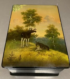 Beautiful Vintage 1960 Fedoskino Russian Lacquer Box Artist Signed