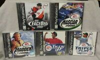 5 Sport Games Lot - Playstation 1 2 PS1 PS2 Madden NFL NHL Tiger Golf NBA MLB -