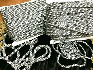 """Vintage 1/4"""" - 3/8"""" Metallic Twist Cord Acier & Gunmetal Rope 1yd Made in France"""