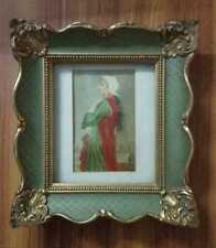 Antique 19th C flemish miniature portrait of a young lady