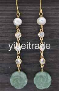 GREEN Jade Agate Carve Flower White Pearl CZ Dangle Earring 14K FILLED GOLD